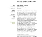 Genessee Pomfret Reading Series